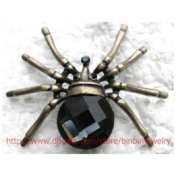 12pcs/lot Wholesale Crystal Rhinestone Glass gem Spider Brooches Fashion Costume Pin Brooch jewelry gift C961