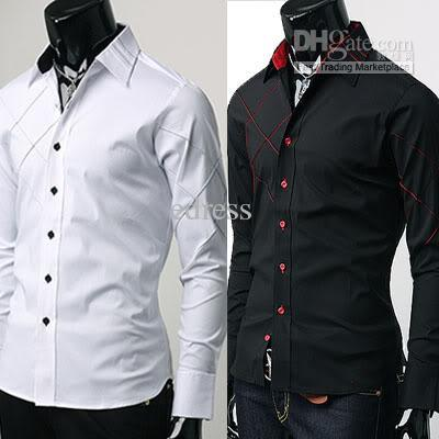 2017 New Mens Casual Slim Fit Dress Shirts Black White 3 Size Xs,S ...