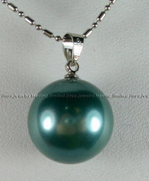 silver chain necklace 16mm Canada - 16MM Blue Sea Shell Pearl Pendant Necklace 18inches 925 silver
