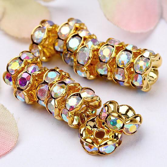 Promotion 8MM Crystal AB Rhinestone Crystal Spacer Bead Findings, Wave-shaped Rondelle Spacer Beads