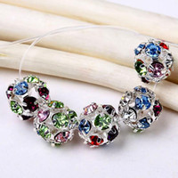 Wholesale Wholesales mm Multicolor Rhinestone Ball Spacers Findings Bead