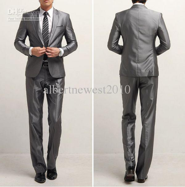 2017 Nwt Sales Promotion Silver Grey Polyester Coat Slim Fit ...