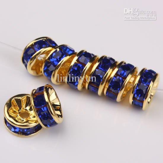 10MM Wheel-Shaped Dark Blue Rhinestone Crystal Spacer Beads Jewelry Findings, Rondelle Beads