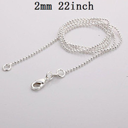 $enCountryForm.capitalKeyWord NZ - Wholesale Shining Beads Chains Top Quality 2mm 22inch 925 Silver Necklaces Jewelry 100pcs lot Free Shipping