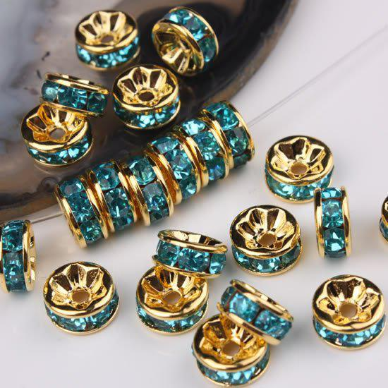 10MM Wheel-Shaped Cyan Rhinestone Crystal Spacer Beads Jewelry Findings, Rondelle Beads, 100pcs/lot