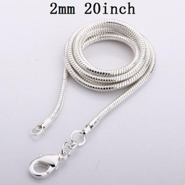 Wholesale Top Brands China - Men's Brand New Shining 925 Snake Chains Top Quality 2mm 20inch 925 Silver Vogue Necklaces 100pcs lot