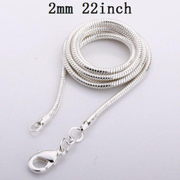 Wholesale 925 Sterling Silver Chains 22inch - Men's Snake Chains Top Quality 2mm 22inch 925 Silver Jewelry Vogue Necklaces 100pcs lot Free Shipping