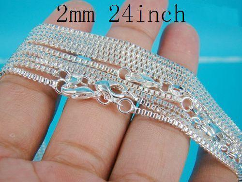 925 Silver Box Chains 2mm 24inch Top Quality 925 Silver Vogue Elegant Necklaces 100pcs/lot Free Shipping