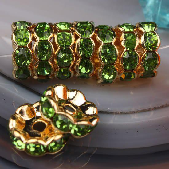 10MM Olive Green Rhinestone Crystal Spacer Bead Findings, Wave-shaped Rondelle Spacer Beads