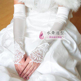 Wholesale Lace Over Satin Dress - Lace Bridal Satin Fingerless Gloves Lucy Refers To Lengthen Over The Elbow Dress Gloves