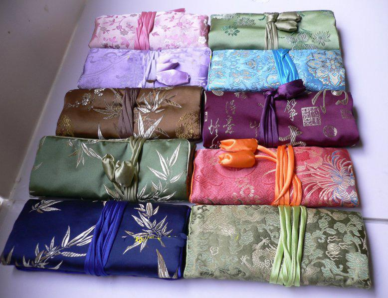 best jewelry roll bag jewellery packaging china silk fabric travel jewelry pouches 50pcs mix free - Jewelry Roll
