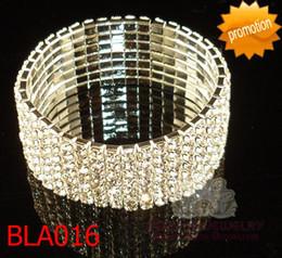 Wholesale Seven Bangles - Seven rows elastic bracelet rhinestone 7-row stretchy bracelet seven rows bridal bangle 12pcs lot