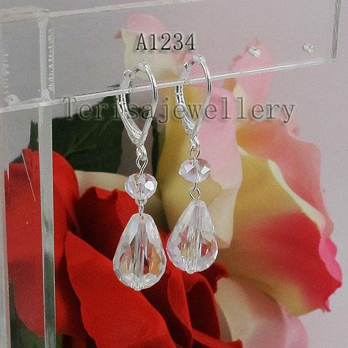 공장 도매 A1234 # 여자의 귀걸이 화이트 크리스탈 보석 웨딩 귀걸이 무료 배송