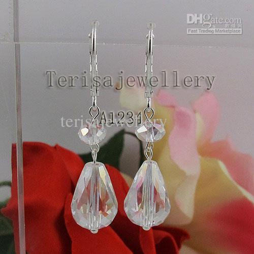 Usine En Gros A1234 # Boucle D'oreille De Femme Fille Blanc Cristal Bijoux Boucle D'oreille De Mariage Livraison Gratuite