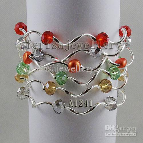 Новое поступление натуральный пресноводный жемчуг кристалл браслет, многоцветный эластичный браслет, 7 дюймов ручной работы, мода женщины свадебный подарок на день рождения