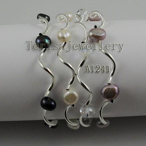 新しいarriver自然淡水真珠の真珠のクリスタルブレスレット、多色弾性ブレスレット、7インチの手仕事、ファッション女性の結婚式の誕生日プレゼント