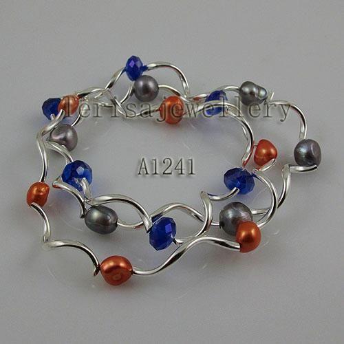 Braccialetto di cristallo della perla d'acqua dolce naturale nuovo di Arriver, braccialetto elastico multicolore, lavoro manuale 7inches, regalo di compleanno di nozze delle donne di modo
