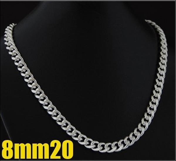 Fashion Men's 8mm 925 Silver Curb Chain Necklace 20inch helt ny, kom med gratis box varm bästa gfit