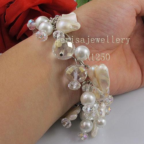 Fabriks grossist A1250 # Girl Woman's armband Crystal Shell Pearl Fashion Smycken Gratis frakt