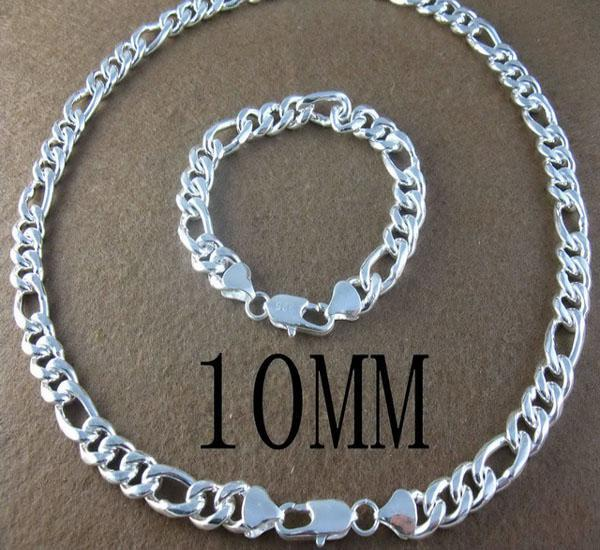Vintage jewelry set 925 Silver cool 10MM men's Figaro chain necklace+bracelet 22+8,With Free box