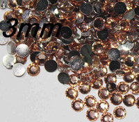Wholesale Champagne Gems - 2500pcs 3mm champagne Flat Back Acrylic Rhinestones Gems For nail art