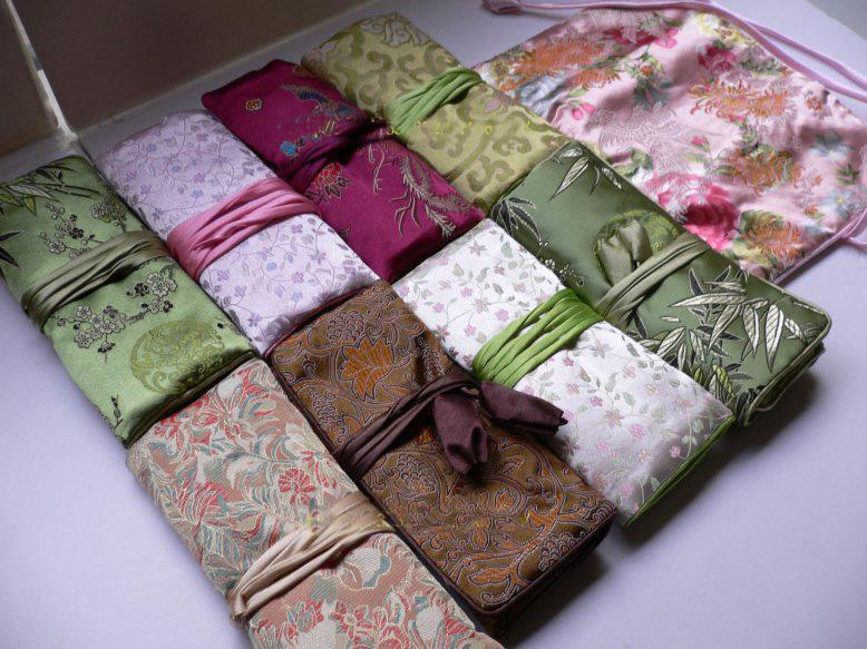 multi zipper jewelry roll up travel bag storage case makeup cosmetic packaging pouch for women chinese silk fabric craft clutch bags from chinesesilk - Jewelry Roll