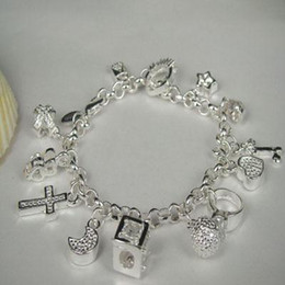 Wholesale Mark Girls - Free Shipping Lady girl crystal hot sell Silver plated fashion jewelry charm 13 pendant bracelet H144 marked 925