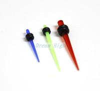Wholesale Taper Ear Flesh Tunnel Plugs - UV Acrylic Ear Piercing Tapers Ear Expanders 120pcs lot Green Blue Red Ear Plugs Flesh Tunnel