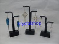 Wholesale Wholesale Showcase Sets - Wholesale Free Shipping 10 set lot Black Acrylic Earring Jewelry Showcase Display Holder Stand