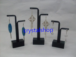Wholesale Glass Jewelry Showcase - Wholesale Free Shipping 10 set lot Black Acrylic Earring Jewelry Showcase Display Holder Stand