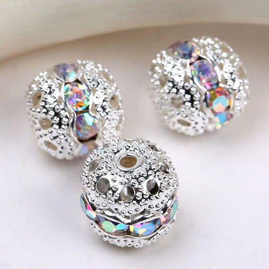 8mm crystal AB Spacer Beads,handicraft globose beads,silver plated pave rhinestones balls findings