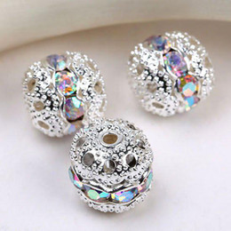 Wholesale Pave Beads 8mm - 8mm crystal AB Spacer Beads,handicraft globose beads,silver plated pave rhinestones balls findings