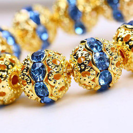 Wholesale Gold Pave Spacer - 8mm Blue crystal Spacer Beads,handicraft globose beads,gold plated pave rhinestone balls findings