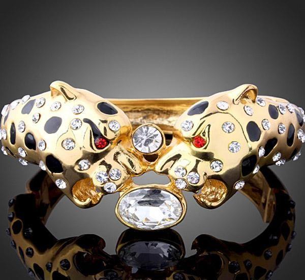 Stijlvolle legering Sieraden Goud Dragon Bangle Manchet Face Crystal Beads Nieuwe Bangle
