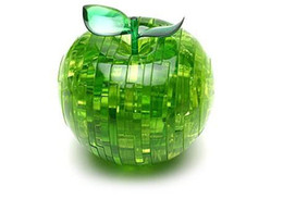 Wholesale Led 3d Puzzles - 7pcs lot 3D Crystal Puzzle--Red, Green Crystal Apple 3D Puzzle, LED light puzzle