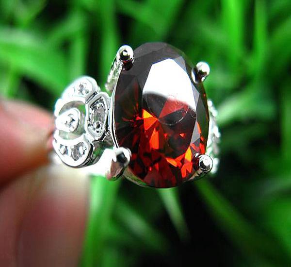 Мистический драгоценный камень кольца 925 Серебряный огонь красный топаз драгоценный камень кольцо размер 8