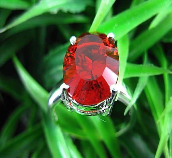 Mystischer Edelstein Ringe 925 Silber Feuerrot Topas Edelstein Ring Größe 8