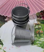 Wholesale Mini Pails Wedding - 100pcs lot Free shipping! Silver Tin Pails wedding favors,Wholesale - Wedding favors, mini pails,tin candy box