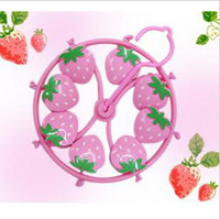 Wholesale Pink Plastic Skirt - best Cute Plastic cartoon strawberry Clothes Hanger 8 Clip drying rack clothes hanger pink