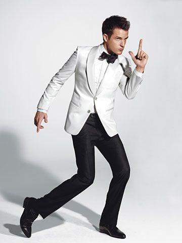 Topkwaliteit Twee witte knoppen Sjaalkraag Nieuwe Bruidegom Tuxedos / Bruiloft Heren Pak Bruidegom Suits Jas + Broek + Tie + Gordel 03