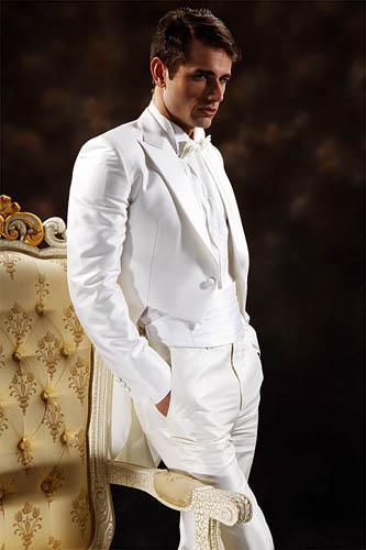 고품질 더블 브레스트 화이트 신랑 Tailcoat 피크 옷깃 웨딩 남자 정장의 신랑 정장 자켓 + 바지 + 타이 + 거들 02