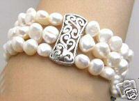 Wholesale Baroque Pearls Bracelets - NATURAL SOUTHSEA 3 STRAND BAROQUE PEARL BRACELET WHITE