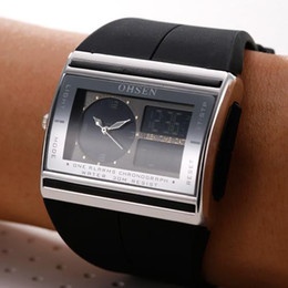 Wholesale Ohsen Led Digital Watches - UNISEX MENS WATCH OHSEN ALARM LAMP DUAL ANALOG LED DIGITAL LCD WATERPROOF WOMAN'S LUXURY WATCHES