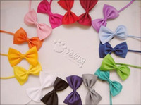 Wholesale White Dog Bow Tie - 10pcs lot 15 kinds of mix colors of dog tie,dog bow tie,can be used as head of flowers