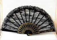 Wholesale Lace Ladies Fan Wholesale - 50pcs lot wedding black Gothic lolita ladies lace hand Fan Elegant Fans for party & show colorful