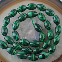 Wholesale Green Malachite Gem - beautiful 8x12mm Green Malachite Gem Rice Loose Bead 15''
