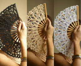 Wholesale Wholesale Ladies Umbrellas - 50pcs lot black white ivory wedding full batten Lolita victorian LACE FAN Hand Fans SPANISH LADY H123