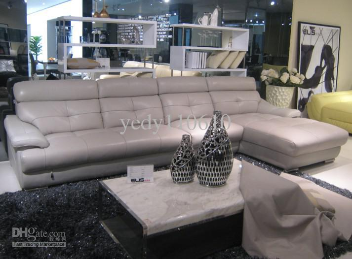 2018 Real Leather Sofa Luxury Style Light Gray G889813R From