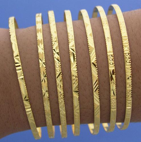 18k Gold Seven Days Bangles 7 Day Cuff Bangle Bracelet Bakelite