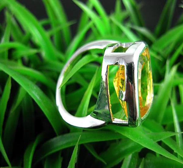 Monili all'ingrosso Anelli di gemme Anelli in argento 925 con quarzo citrino citrino